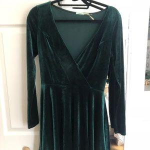 Emerald Green Velvet Long Sleeve Dress